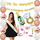 Bachelorette Party Decorations Kit | Bridal Shower Supplies - Bride to Be Sash + Veil, Ring foil Balloon, Champagne Bottle foil Balloon, 2 Gold Banners, Photo Booth Props kit, 12 Latex Balloons Set