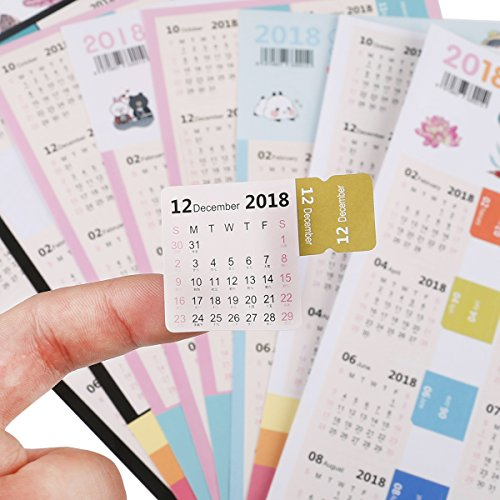 Cordliya 2018 Calendar Stickers Monthly Tab Calendars for Bullet Journal/Planners/Agenda - 15 Months from February 2018 to April 2019-4 Sets Self Adhesive Tabs