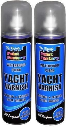 2 X 250ML WATERPROOF CLEAR YACHT VARNISH SPRAY PAINT NO CFCS INTERIOR  EXTERIOR