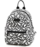 Smilecoco Girls Cute White Feather Pattern Canvas Purse Backpack Shoulder School Bag, Large Size Review