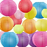 "Paper Lanterns, URBEST Decorative Paper Lanterns Rainbow Colors 4"", 6"", 8"", 10"" Round Hanging Decoration Lanterns Lamps for Party, Wedding, Home Decor, 16 Pack"