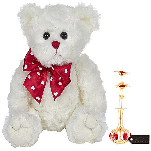 Plush Bear Lovable - Matashi 24K Gold Plated Sun Flowers in vase Ornament with Red Crystals Bearington Lil' Lovable Plush Stuffed Animal Teddy Bear, White 11