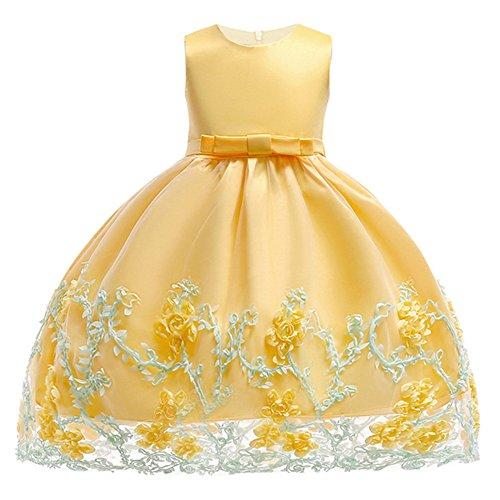 e26746ce Berngi Infant Toddler Baby Girl Dress Girls Birthday Dresses Flower Party  Princess Dress (Yellow,