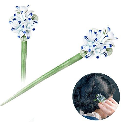 STAR-TOP Chinese Hair Chopsticks Hair Decor Crystal Rhinestone Hair Pins Flower Hair Clip Metal Hair Stick With Jewelly Box - Bronze Vantage Crystal