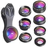 Apexel 7 in 1 Universal Clip Professional HD Camera Lens Kit Zoom Telephoto Lens + Fisheye + Wide Angle + Macro Lens + CPL Lens + Kaleidoscope Lens + 0.36X Super Wide Lens