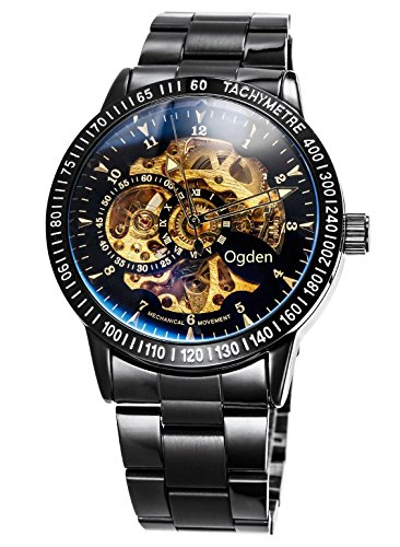 Carrie Hughes Men's Steampunk Automatic Watches Self-Wind Mechanical Skeleton Stainless Steel Waterproof (88226GC)