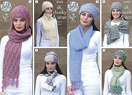 6206abfeea6 King Cole Ladies Hats   Scarves Big Value Knitting Pattern 4353 DK ...
