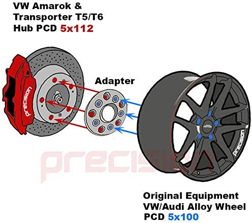 PN.2AD05+10SB01165 Precision 1 Pair of 20mm Hubcentric PCD Adapters 5x112 Hub to 5x100 Wheel for Śeat Leon MK2