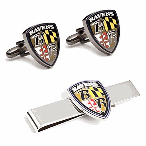 Baltimore Ravens Cufflinks (PD-BRV-CT Baltimore Ravens Shield Cufflinks and Tie Bar Gift Set)