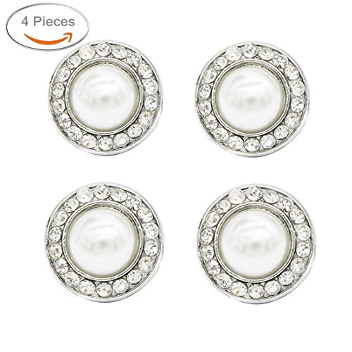 - SHINYTIME Pearl Rhinestone Buttons 4 Pieces Sew-On Pearl Floral Round Crystal Buttons for Bridal Clothing Decoration and DIY Crafts 0.7 inches