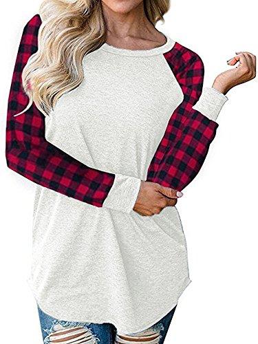 Gemijack Womens Tops Raglan Shirt Plaid Long Sleeve Crewneck Sweatshirt T shirts