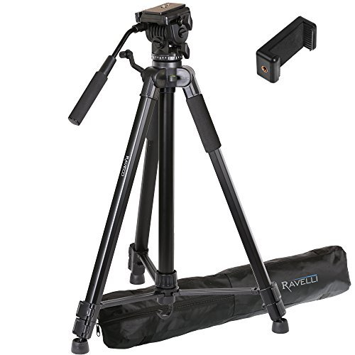 Ravelli AVTH 72'' Light Weight Aluminum Video Tripod with Bag Includes Universal Smartphone Mount by Ravelli