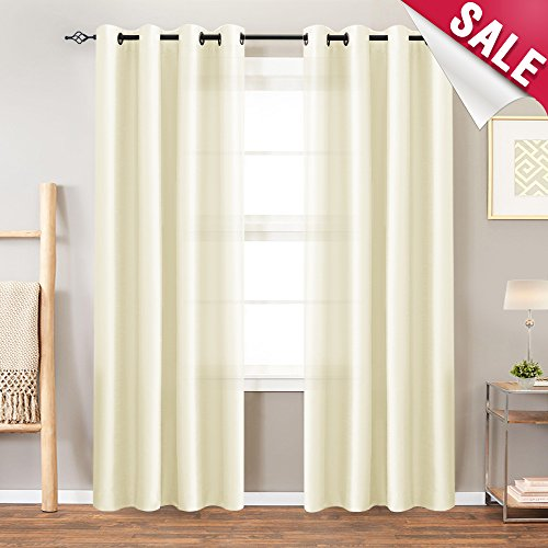 Faux Silk Curtains Ivory Dupioni Window Curtains Living Room 95 inches Long Light Reducing Curtain Panels Bedroom Grommet Top Satin Window Treatment Set Light Gold 2 Panels