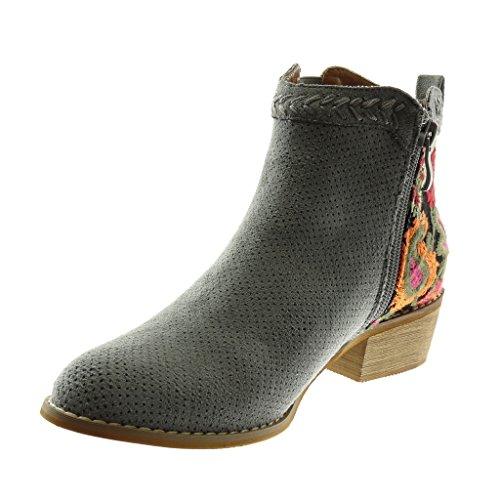 Angkorly Zapatillas Moda Botines Botas Mocasines Chelsea Boots Mujer Flores Perforado Bordado Tacón Ancho Alto 4 cm Gris