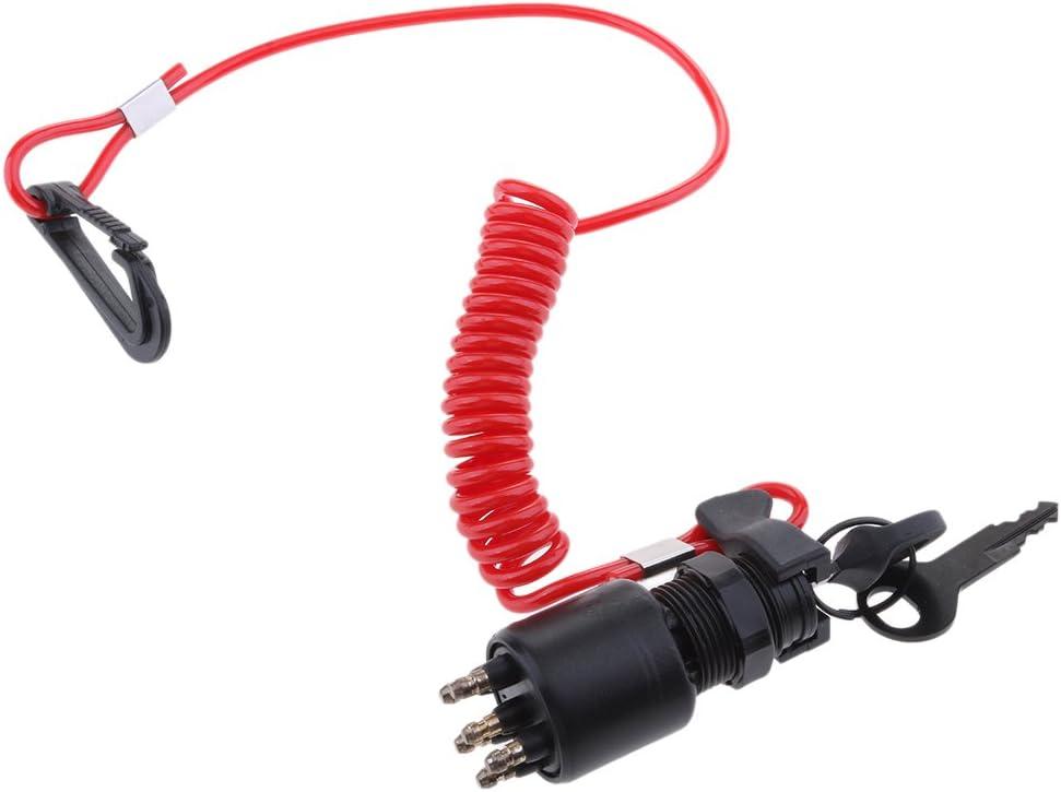 KESOTO Universal Z/ündschloss Z/ündschalter mit Sicherheitsleine f/ür Johnson Evinrude 40-200PS Au/ßenborder Motor