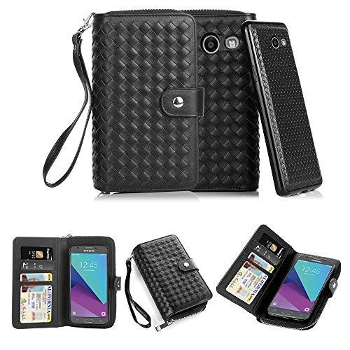 TabPow Galaxy J3 Emerge Case,Weave Zipper Cash Slot, Card Slots, Button, Leather Wallet Case Cover Detachable Case Samsung Galaxy J3 Prime/Galaxy J3 Emerge/Amp Prime 2 - Weave Black