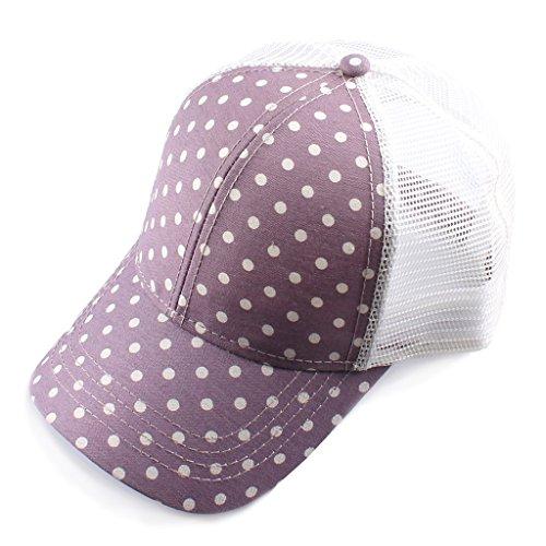 (H-6140-100740 Trucker Hat - Polka Dot (Purple))