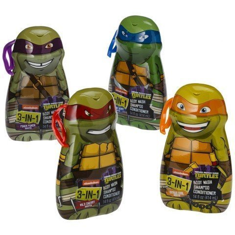 Teenage Mutant Ninja Turtles 3-in-1 Body Wash, Shampoo and Conditioner 4-Pack (One of each Character) by Nicolodean