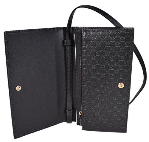 Gucci Women s Leather Micro GG Guccissima Mini Crossbody Wallet Bag Purse ( Black) d205ab71a25ff