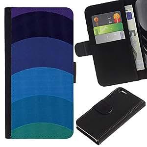 Billetera de Cuero Caso Titular de la tarjeta Carcasa Funda para Apple Iphone 6 4.7 / Teal Blue Lines Minimalist Calm / STRONG