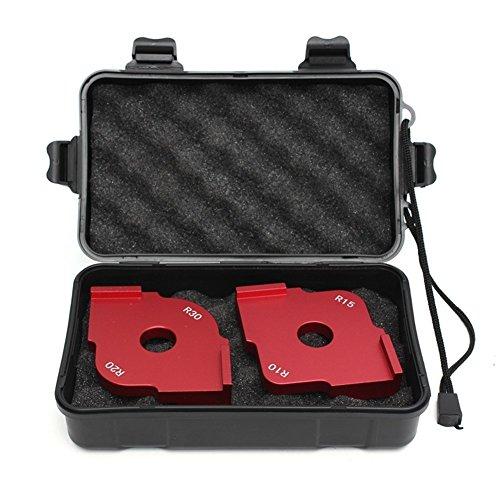AIBER Radius Jig Router Templates Plastic Case and Foam Cushion Space Aluminium Radius Corners R10 R15 R20 R30, Set of 2