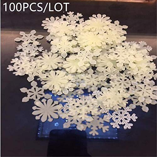 50PCS OR100PCS Luminous Wall Sticker Snowflake Glow in The Dark Decal for Kids Baby Rooms Christmas Decor Fluorescent Stickers 100PCS Yellow