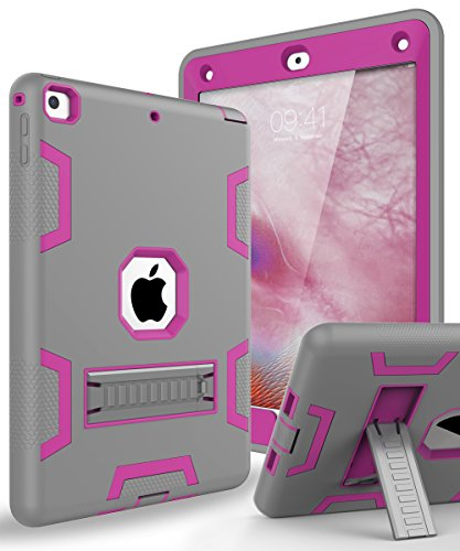 TOPSKY Case iPad 9.7 2018,iPad 6th/5th Generation Case,Three Layer Shockproof Armor Defender Protective Case Cover for Apple iPad 9.7 2017/2018 A1893 A1954 A1822 A1823,Grey Pink
