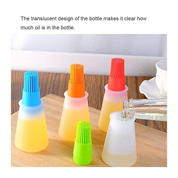 Morenitor Silicone Oil Brush, Good Grips Silicone Basting High Heat Resistant Pastry Brush with Oil Bottle Brush Design, Food Safety, 4.5 Inches 5 ? Safety and Health ? The basting brushes are made of 100% food grade silicone, food safe and non-toxic. ?HIGH HEAT RESISTANCE ? High heat-resisting, the oil brush bristles will not melt, break or shed into your food! No bristles loss troubles£¡ ?More Color Silicone Brush ? Removable silicone bristles and silicone bottle , non-toxic and odor control oil ,respirable, no matter how much, no waste of oil. Easy to clean the brush and bottle.