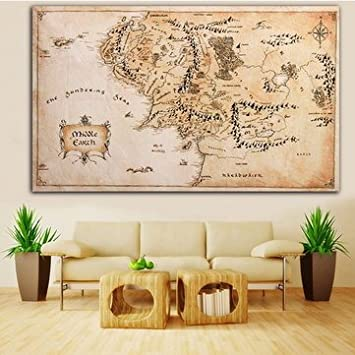 Buy Generic Map Of Middle Earth Lord Of The Rings Silk Cloth Poster
