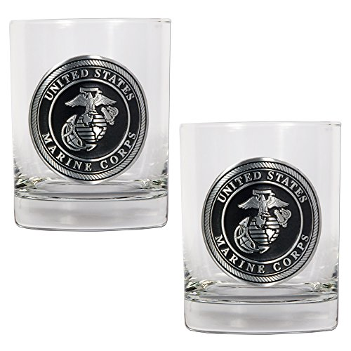 Marines Seal Rocks Glass Set (2-Piece), 14-Ounce, Clear