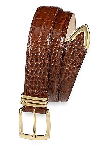 Paul Fredrick Men's Randolph Embossed Leather Belt Brandy 36