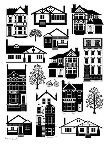 (Natalie Singh Mixed Housing Styles Digital Art Print in Black and White)