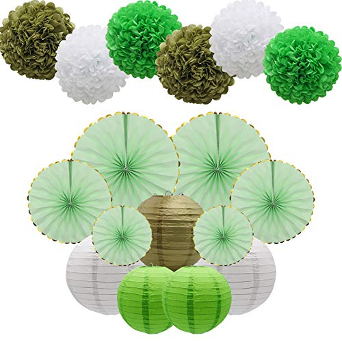 Green Party Decorations Supplies Kit, Paper Lanterns, Tissue Pom Poms Flowers, Paper Hanging Fans Set for Baby Showers Bridal Birthday Wedding School ()