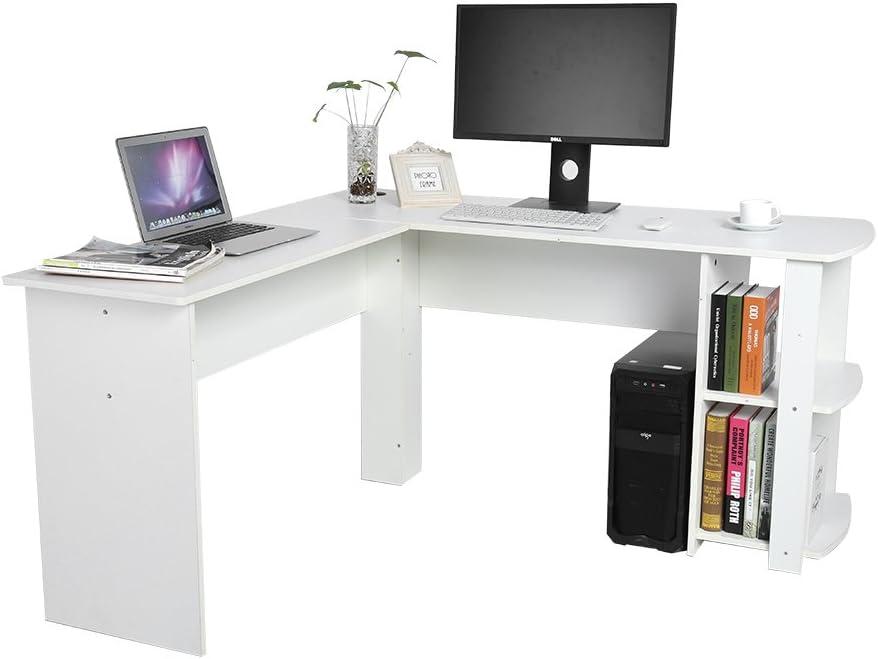 PC L Mesa Escritorio de Computadora para Esquina de Oficina y Estudio de Casa Ordenador Port/átil con Estanter/ía de Libros Yosoo Forma Blanco