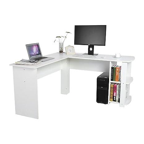Yosoo Forma - L Mesa Escritorio de Computadora, PC, Ordenador Portátil con Estantería de Libros, Para Esquina de Oficina y Estudio de Casa (Blanco)