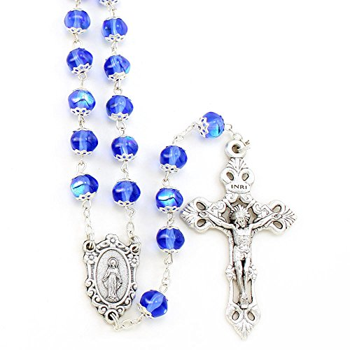 Sapphire Borealis Capped Beads Rosary