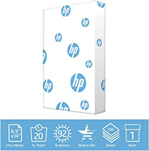 HP Printer Paper legal paper Office 20 lb 1 Ream 500 Sheets 92 Bright Made in USA FSC Certified Copy Paper HP Compatible 001422R