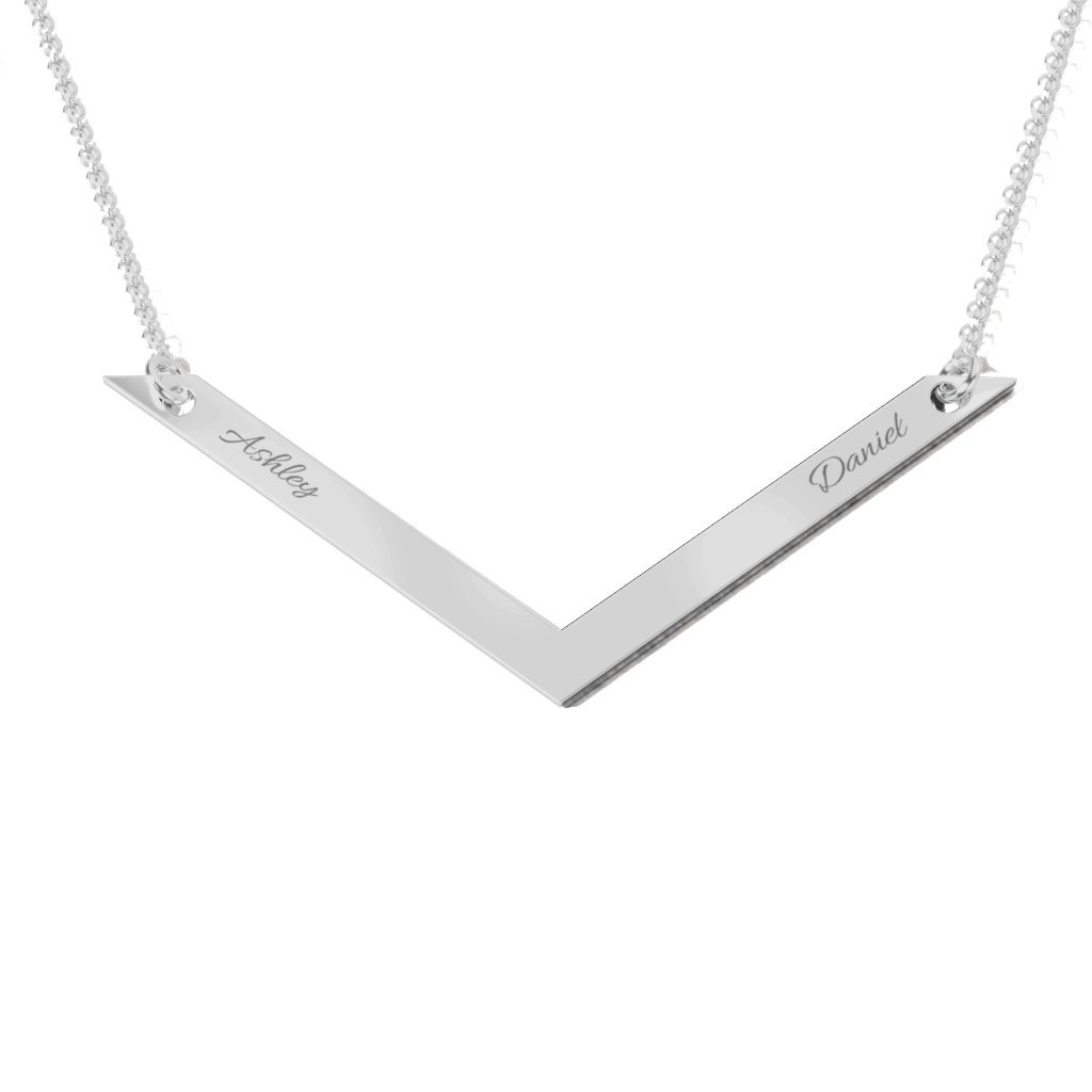 14K Gold V Is For Valentine Engravable Necklace by JEWLR