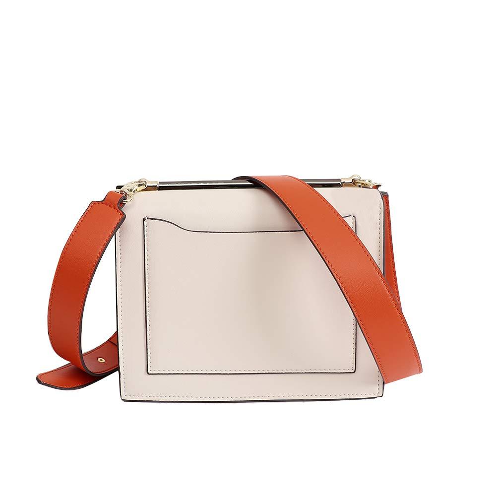 JIANZ-ryggsäck kvinnor kvinnor läder crossbody handväskor axelväskor designer plånböcker för damer resor arbete axelväska för kvinnor (färg: svart) vit/orange
