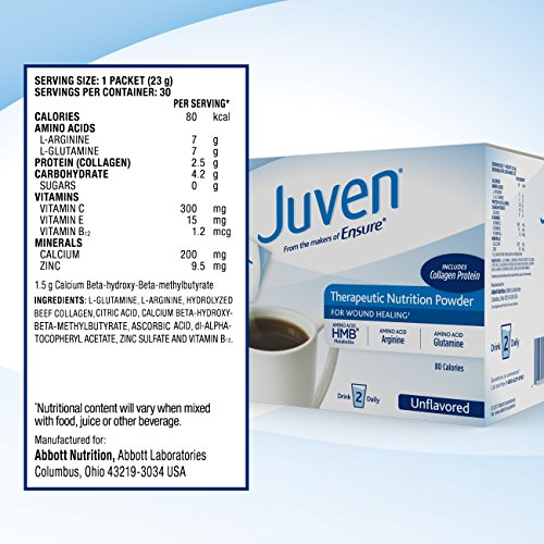 Juven Therapeutic Nutrition Drink Mix Powder for Wound Healing Includes Collagen Protein, Unflavored, 30 Count by Juven (Image #5)