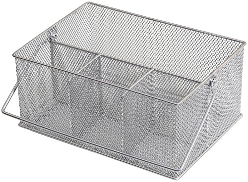 YBM HOME Mesh Silver Condiment Caddy / Kitchen Supply, Utensil, Silverware Organizer Cutlery Holder Flatware Storage Napkin Holder (w'7 L'9.1/4 Depth 4'3/8 Inch) 1151M (1)