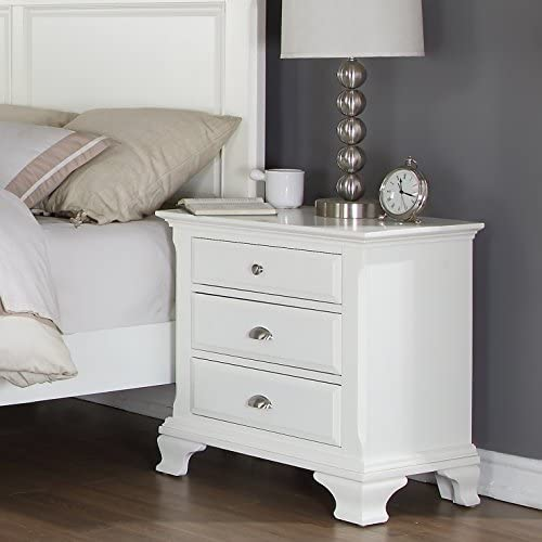 Roundhill Furniture Laveno 012 White Wood 3-Drawer Night Stand
