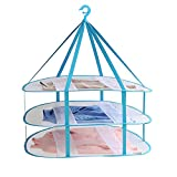 Adwaita Large Size 3-Tier Folded Mesh Clothes Hanging Dryer T-shirt/Sweater Drying Rack 30.3'' L x 24.5'' W x 30.7'' H