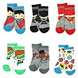 Batman Justice League Boy's 6 pack Socks with Grippers (Baby/Toddler)