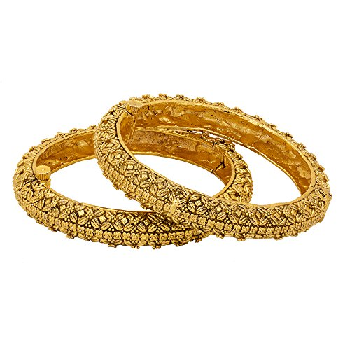 Adwitiya 24k Gold Plated Antique Ethnic Bangle Set with Tribal Pattern For Womens (2.8)
