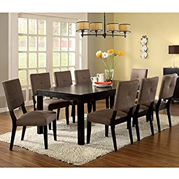 Amazoncom Bay Side Espresso Finish 9 Piece Dining Table Set