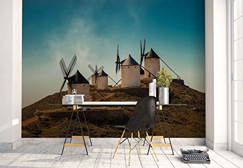 Photo wallpaper wall mural - Hilltop Stone Windmills Vane Energy - Theme Travel & Maps - L - 8ft 4in x 6ft (WxH) - 2 Pieces - Printed on 130gsm Non-Woven Paper - 1X-1149942V4 by Fotowalls Photo Wallpaper Murals
