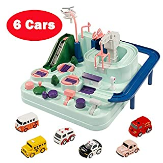 GEDIAO Car Toys Track Racer Race Cars Fun Toy Playset for Kids, Manual Operation Vehicles and Helicopter Track Through Level Game Set