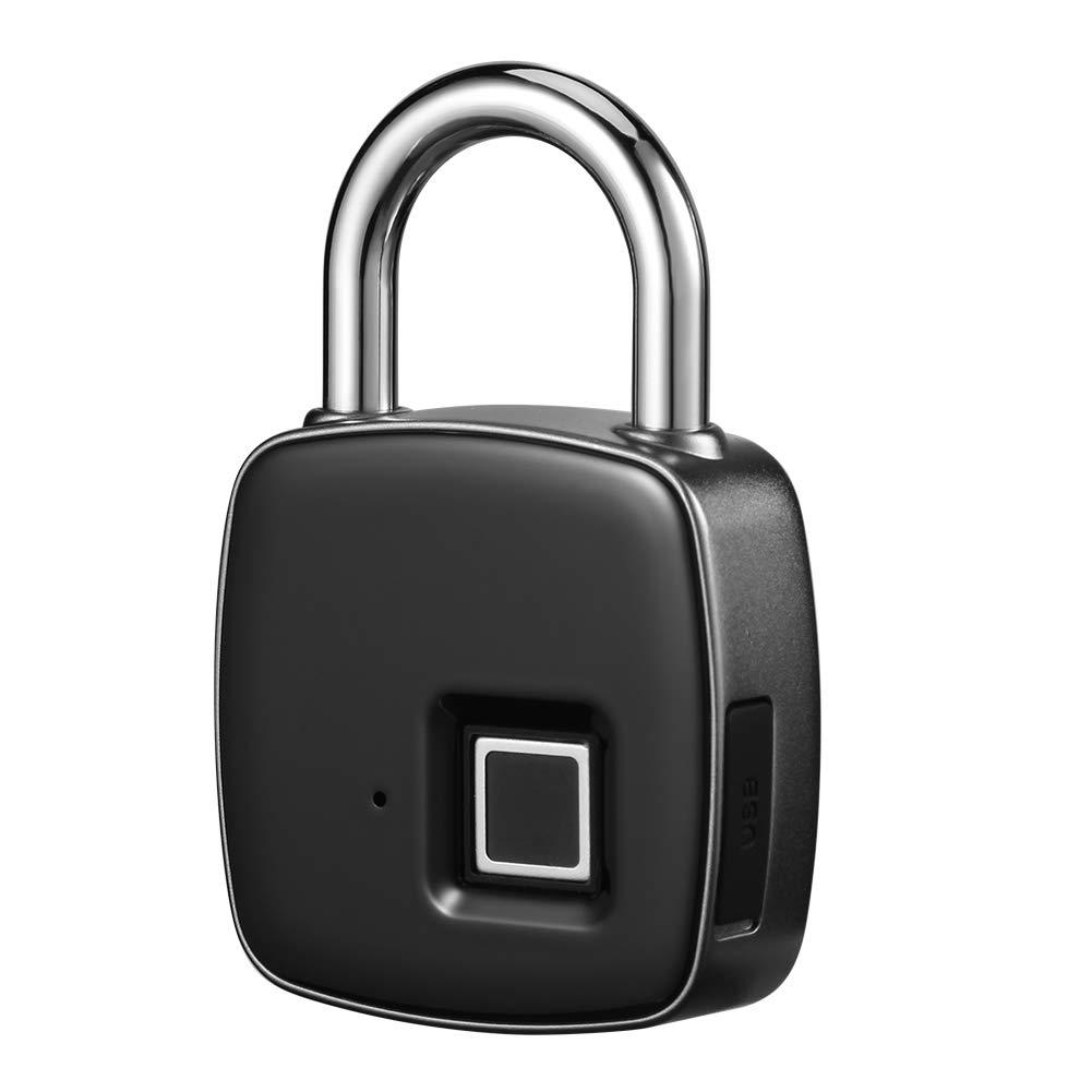 Fingerprint Padlock, Alloet Waterproof Keyless Anti-Theft Padlock, Suitable for Door, Cabinet, Backpack, Cargo, Bike, Luggage, Support USB Charging by alloet