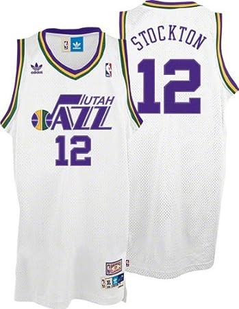 size 40 fb6b1 83fb0 adidas Utah Jazz John Stockton Hardwood Classics White Swingman Jersey